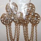 Elegant 51 (3 Round Gold Piece with Rhinestone) with hanging chains Ear Rings