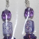 Elegant 67 Purple Beads with Design in Midle Ear Rings (3)