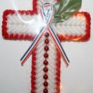 Cross Magnet Red and White, Red Beads with Ribbon and Green Leaf