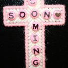 Cross Magnet (Pink and White) Coming Soon written in Beads