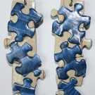 Puzzle Ear Rings (Blue and Beige)