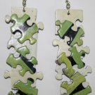 Puzzle Ear Rings (Green, Black and Beige)