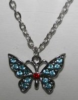 Butterfly Necklace with aquarmarine stones
