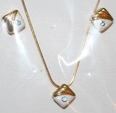 Aquamarine Rhinestone Necklace and Matching Ear Ring Set