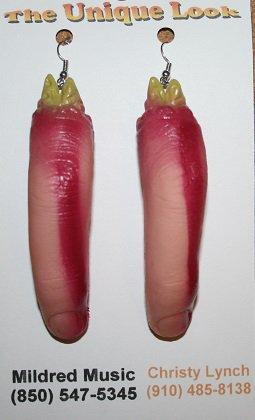 Severed Finger Ear Rings (Halloween) Glow n the Dark