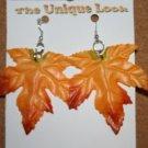 Glow n the Dark Fall Leaf Ear Rings (Orange and Red)