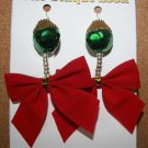 Green Bell with Red Bow Christmas Ear Rings