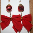 Red Bell with Red Bow Christmas Ear Rings