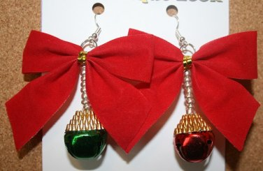 Red Bow with hanging bells (Red & Green) Christmas Ear Rings
