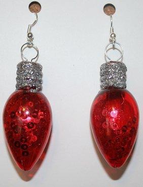 Red Glow in the Dark Christmas Bulb Ear Rings