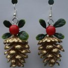 Gold Pinecone with Mistletoe Christmas Ear Rings!