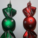 Christmas Candy Ear Rings (Round) Green and Red and Silver