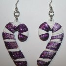 Candy Cane Christmas Ear Rings (Glitter)