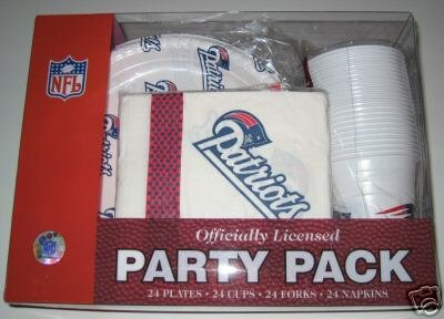 New England Patriots 96 pc. Party Pack Cups Plates Napkins Gift
