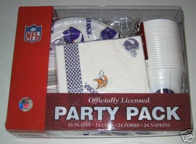 Minnesota Vikings 96pc Party Pack Cups Plates Napkins Gift