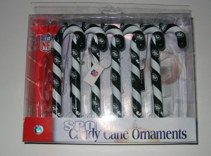 New York Jets Candy Cane Christmas Tree Ornament Set Gift