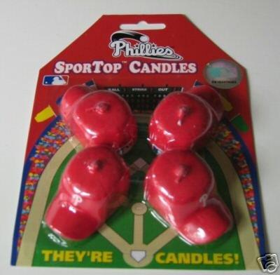 Philadelphia Philies Baseball Cap Birthday Candle 4-Pack Gift