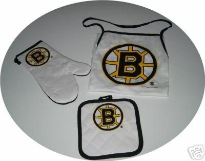 Boston Bruins Tailgate BBQ 3pc Set Apron Mitt Gift