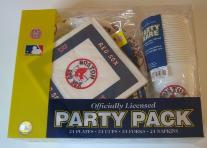 Boston Red Sox 96pc Party Pack Cups Plates Napkins Gift