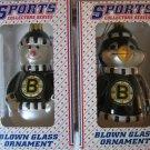 Boston Bruins Blown Glass Snowman & Penguin Christmas Ornament Set Gift