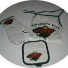 Minnesota Wild 3pc BBQ Tailgate Set Apron Mitt Gift