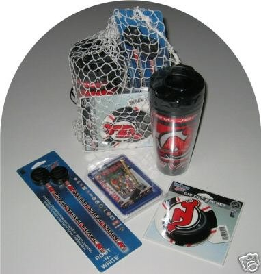 New Jersey Devils 4pc Hockey Gift Net Basket Travel Mug