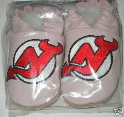 New Jersey Devils PINK Leather Baby Shoes Booties 0-6 months Gift