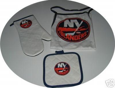 New York Islanders 3pc BBQ Tailgate Set Apron Mitt Gift