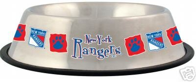 New York Rangers 32oz Stainless Steel Pet Dog Food Water Bowl Gift