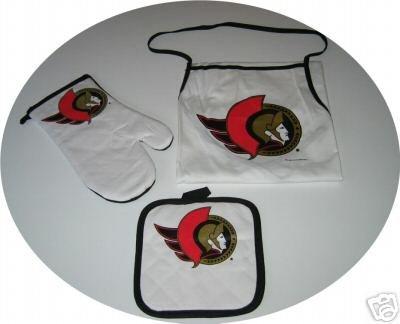 Ottawa Senators 3pc BBQ Tailgate Set Apron Mitt Gift