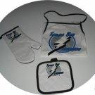 Tampa Bay Lightning 3pc BBQ Tailgate Set Apron Mitt Gift