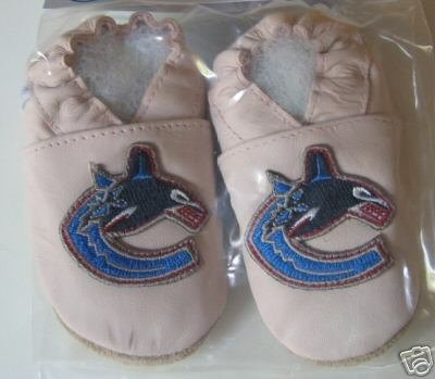 Vancouver Canucks PINK Leather Baby Shoes Booties Gift