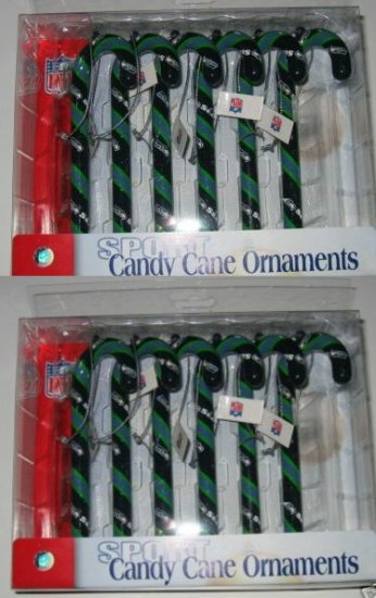 2 Sets Seattle Seahawks Candy Cane Christmas Ornaments Gift