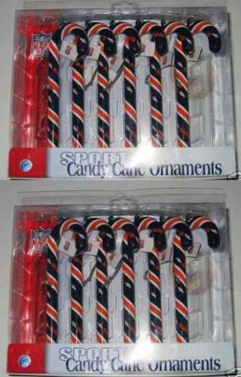 2 Sets Denver Broncos Candy Cane Christmas Ornaments Gift