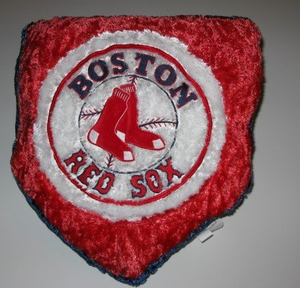 Boston Red Sox Baseball Home Plate Shaped Logo Pillow Super Soft Gift
