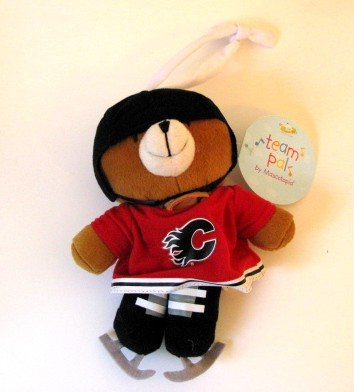Calgary Flames Musical Pull Down Plush Bear Baby Toy Gift