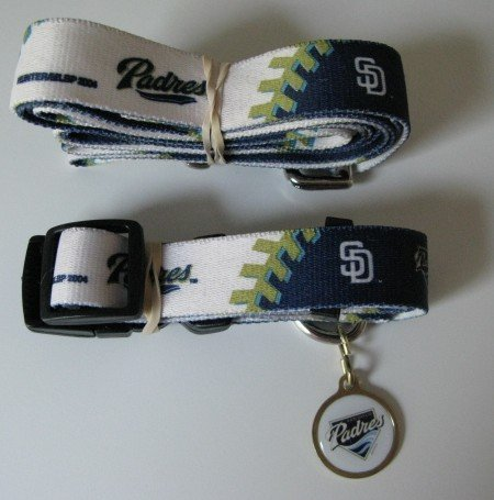 San Diego Padres Pet Dog Leash Set Collar ID Tag Gift Size Small