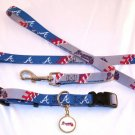 Atlanta Braves Pet Dog Leash Set Collar ID Tag Medium