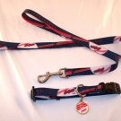 Cleveland Indians Pet Dog Leash Set Collar ID Tag Gift Size Medium