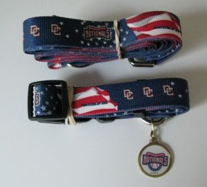 Washington Nationals Pet Dog Leash Set Collar ID Tag Gift Size Medium