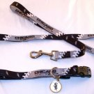 Chicago White Sox Pet Dog Leash Set Collar ID Tag Gift Size Large