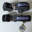 Colorado Rockies Pet Dog Leash Set Collar ID Tag Gift Size Large