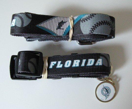Florida Marlins Pet Dog Leash Set Collar ID Tag Gift Size Large