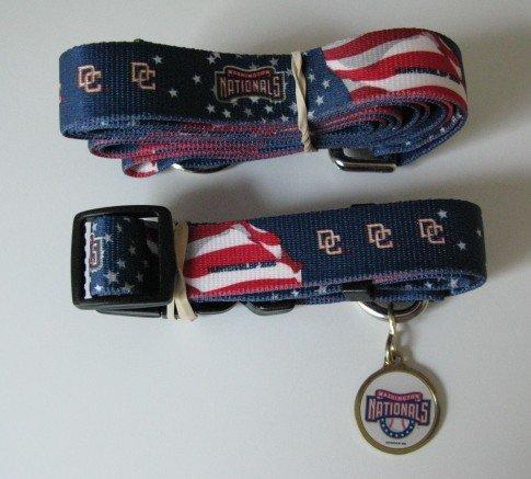 Washington Nationals Pet Dog Leash Set Collar ID Tag Gift Size Large