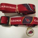 Arizona Cardinals Pet Dog Leash Set Collar ID Tag Large