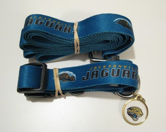 Jacksonville Jaguars Pet Dog Leash Set Collar ID Tag Gift Size Small