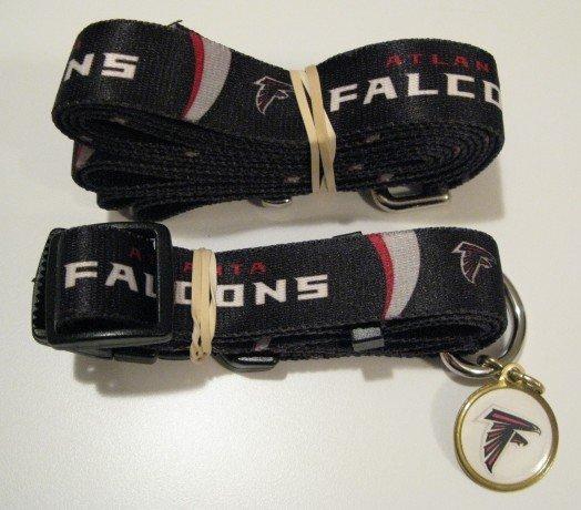 Atlanta Falcons Pet Dog Leash Set Collar ID Tag Gift Size Medium