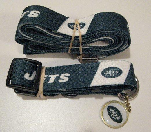 New York Jets Pet Dog Leash Set Collar ID Tag Large