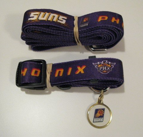 Phoenix Suns Pet Dog Leash Set Collar ID Tag Gift Size Small