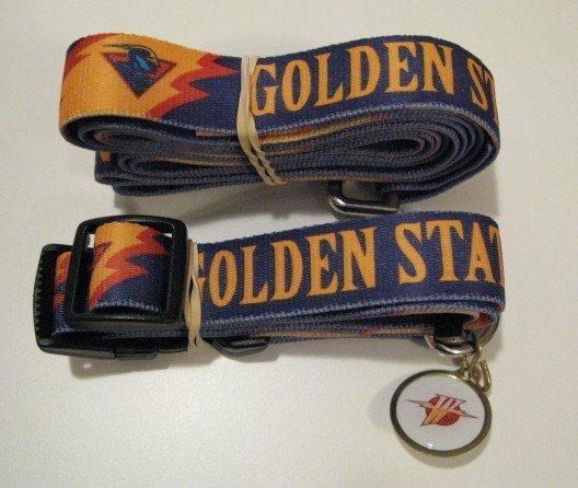 Golden State Warriors Pet Dog Leash Set Collar ID Tag Gift Size Medium